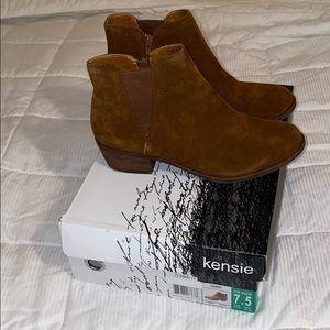 Kensie Garry Brown Suede Ankle Bootie